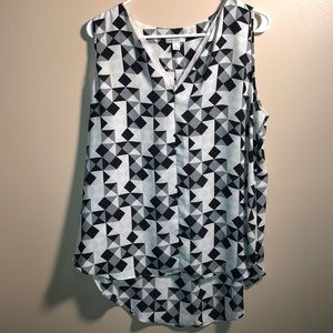 CATO- Sleeveless Dressy Top High-Low- Black& White